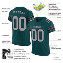Load image into Gallery viewer, Custom Midnight Green Light Gray-Black Mesh Authentic Football Jersey