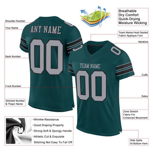 Custom Midnight Green Light Gray-Black Mesh Authentic Football Jersey