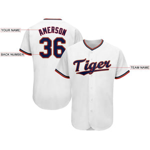 Custom White Navy-Red Baseball Jersey