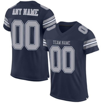 Custom Navy Gray-White Mesh Authentic Football Jersey