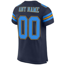 Load image into Gallery viewer, Custom Navy Powder Blue-Gold Mesh Authentic Football Jersey