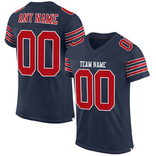 Load image into Gallery viewer, Custom Navy Red-White Mesh Authentic Football Jersey
