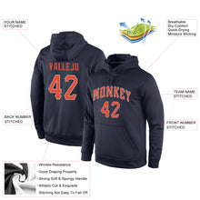 Load image into Gallery viewer, Custom Stitched Navy Orange-Gray Sports Pullover Sweatshirt Hoodie