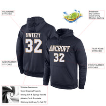 Load image into Gallery viewer, Custom Stitched Navy White-Old Gold Sports Pullover Sweatshirt Hoodie