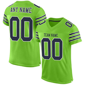 Custom Neon Green Navy-White Mesh Authentic Football Jersey