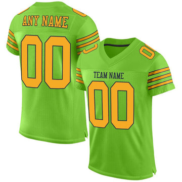 Custom Neon Green Gold-Navy Mesh Authentic Football Jersey