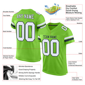 Custom Neon Green White-Navy Mesh Authentic Football Jersey