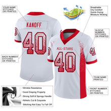 Load image into Gallery viewer, Custom White Scarlet-Navy Mesh Drift Fashion Football Jersey