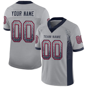 Custom Light Gray Navy-Scarlet Mesh Drift Fashion Football Jersey