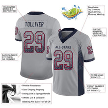 Load image into Gallery viewer, Custom Light Gray Navy-Scarlet Mesh Drift Fashion Football Jersey
