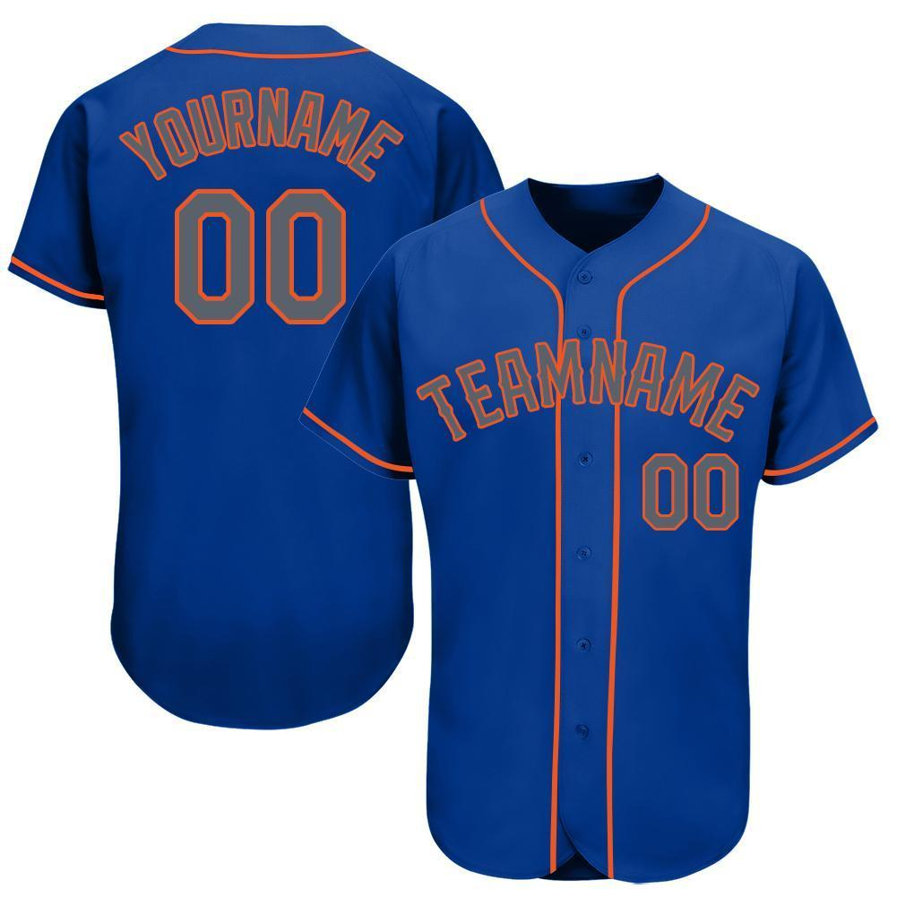 Custom Royal Gray-Orange Baseball Jersey