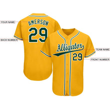 Load image into Gallery viewer, Custom Gold Green-White Baseball Jersey