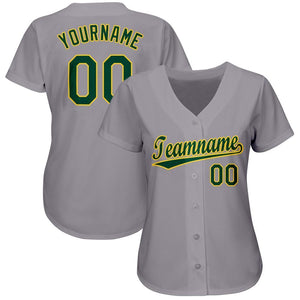 Custom Gray Green-Gold Baseball Jersey