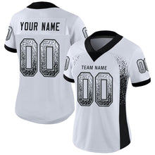 Load image into Gallery viewer, Custom White Black-Silver Mesh Drift Fashion Football Jersey