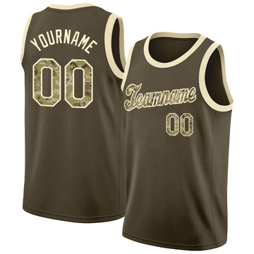 Custom Olive Camo-Cream Round Neck Rib-Knit Salute To Service Basketball Jersey
