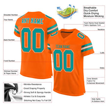 Load image into Gallery viewer, Custom Orange Aqua-White Mesh Authentic Football Jersey