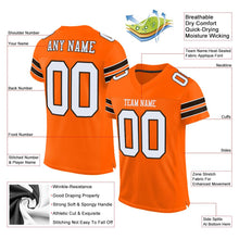 Load image into Gallery viewer, Custom Orange White-Brown Mesh Authentic Football Jersey