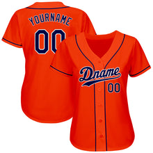 Load image into Gallery viewer, Custom Orange Navy-White Authentic Baseball Jersey