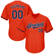 Load image into Gallery viewer, Custom Orange Navy-White Authentic Throwback Rib-Knit Baseball Jersey Shirt