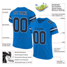 Load image into Gallery viewer, Custom Panther Blue Navy-White Mesh Authentic Football Jersey