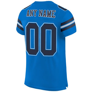 Custom Panther Blue Navy-White Mesh Authentic Football Jersey