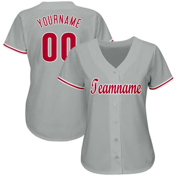 Custom Gray Red-White Baseball Jersey