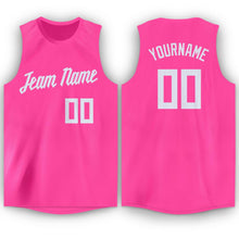 Load image into Gallery viewer, Custom Pink White Round Neck Basketball Jersey