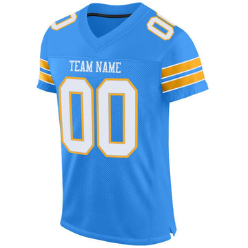 Custom Powder Blue White-Gold Mesh Authentic Football Jersey