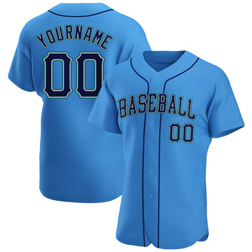 Custom Powder Blue Navy-Aqua Authentic Baseball Jersey