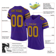 Load image into Gallery viewer, Custom Purple Old Gold-Black Mesh Authentic Football Jersey