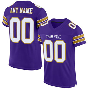 Custom Purple White-Old Gold Mesh Authentic Football Jersey