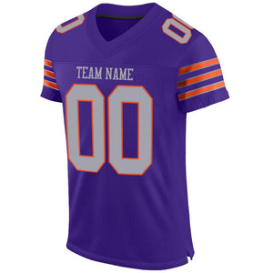 Custom Purple Gray-Orange Mesh Authentic Football Jersey