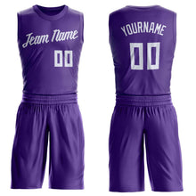 Load image into Gallery viewer, Custom Purple White Round Neck Suit Basketball Jersey