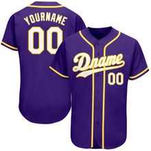 Load image into Gallery viewer, Custom Purple White-Gold Authentic Baseball Jersey
