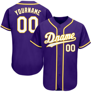 Custom Purple White-Gold Authentic Baseball Jersey