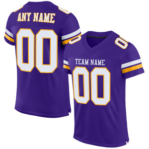 Custom Purple White-Gold Mesh Authentic Football Jersey