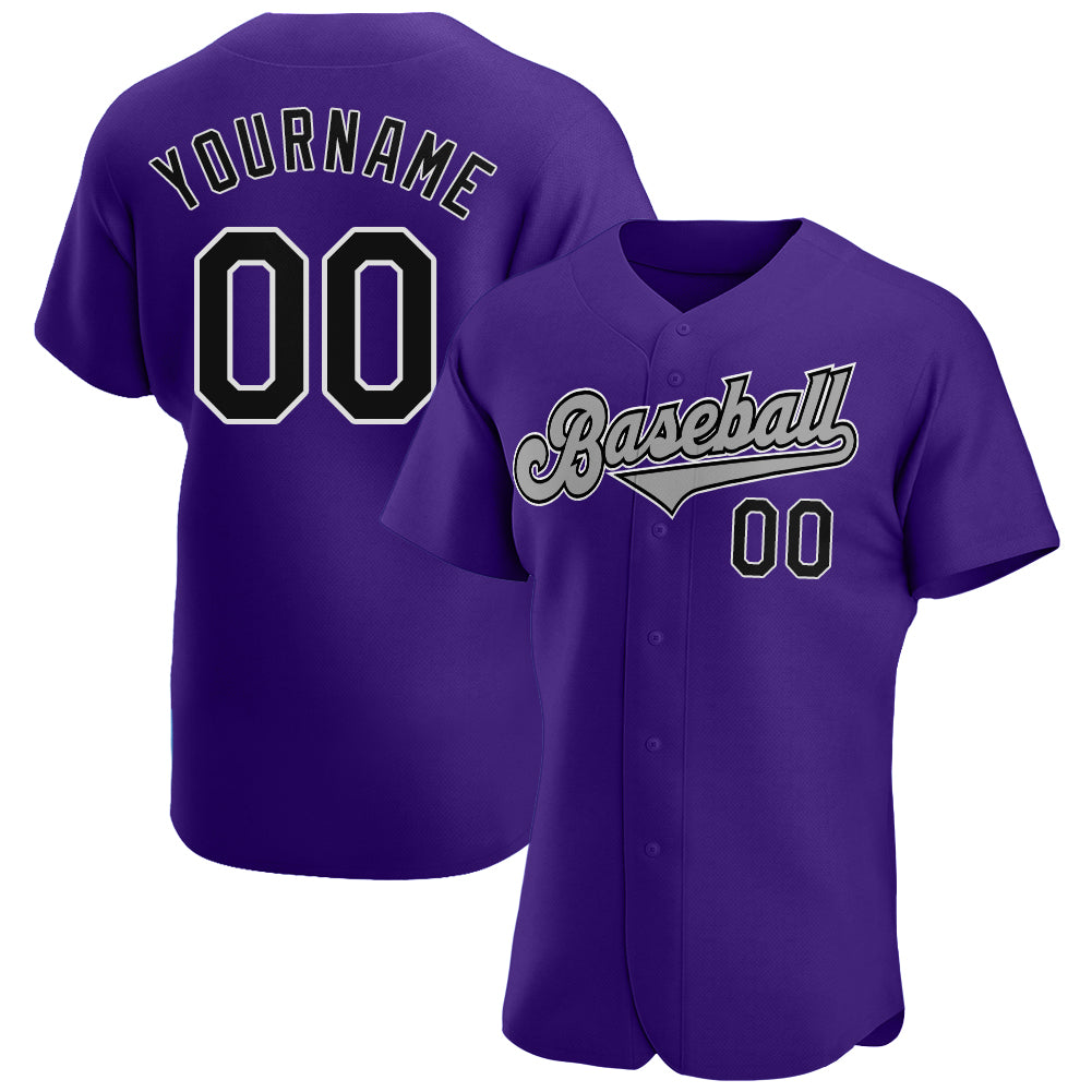 Custom Purple Black-Gray Authentic Baseball Jersey