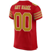 Load image into Gallery viewer, Custom Red Old Gold-White Mesh Authentic Football Jersey
