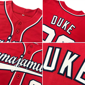 Custom Red White-Royal Authentic Baseball Jersey