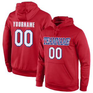 Custom Stitched Red White-Royal Sports Pullover Sweatshirt Hoodie