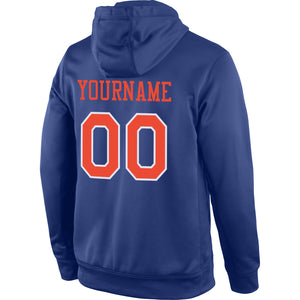 Custom Stitched Royal Orange-White Sports Pullover Sweatshirt Hoodie