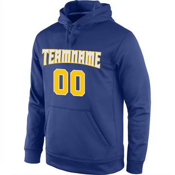 Custom Stitched Royal Gold-White Sports Pullover Sweatshirt Hoodie