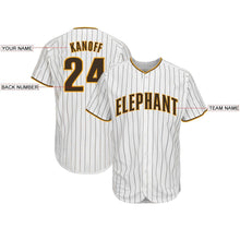 Load image into Gallery viewer, Custom White Brown Strip Brown-Gold Baseball Jersey