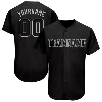 Custom Black Gray Baseball Jersey