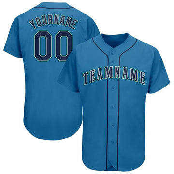 Custom Light Blue Navy-Aqua Baseball Jersey
