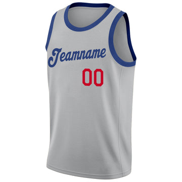 Custom Silver Gray Royal-Red Round Neck Rib-Knit Basketball Jersey