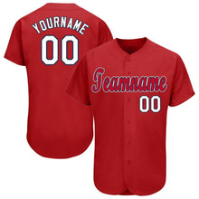 Load image into Gallery viewer, Custom Red White-Navy Baseball Jersey