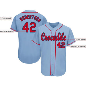 Custom Light Blue Red-Navy Baseball Jersey