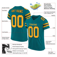 Load image into Gallery viewer, Custom Teal Gold-Black Mesh Authentic Football Jersey