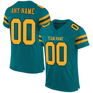 Custom Teal Gold-Black Mesh Authentic Football Jersey